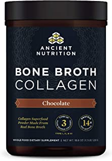 Bone Broth Collagen Powder Chocolate, Formulated by Dr. Josh Axe, Food-Sourced Hydrolyzed Multi Collagen Supplement, Suppo...