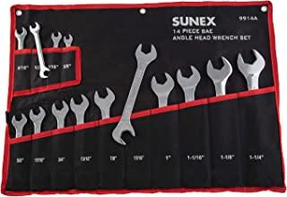 """Sunex 9914 ، ستون آچار سر زاویه دار SAE ، 14 قطعه ، 3/8 """"تا 1-1 / 4"""" ، انتهای زاویه دار 15 و 60 درجه ، فولاد آلیاژی جعلی ، رها کردن ، دو مارک ، کیسه سنگین"""