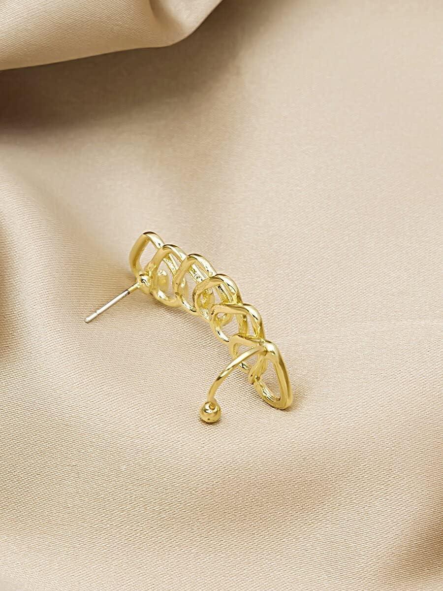 Hoop Earrings 1pc Heart Design Ear Climber (Color : Gold)