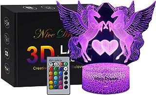 Regalo de Unicornio Luz de Noche para Niños, Lámpara de Luz 3D 7 Colores Cambian con Control Remoto, Ideas de Festivo y Regalos para Niños Niñas y Adultos (unicornio3)