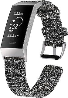 XIHAMA For Fitbit Charge4 / Fitbit Charge3 バンド 交換ベルト 帆布製 フィットビット チャージ3 軽便耐用ストラップ スポーツベルト 2サイズ 防水 キャンバスベルト 全6色 (Large, 黒灰)