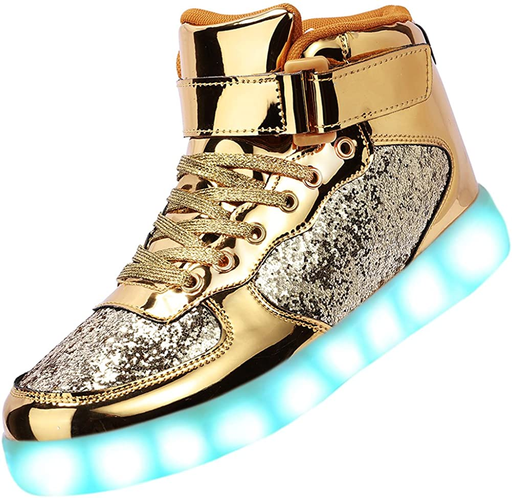 Odema Unisex LED Shoes High Top free Women Light Men New color Up for Sneakers