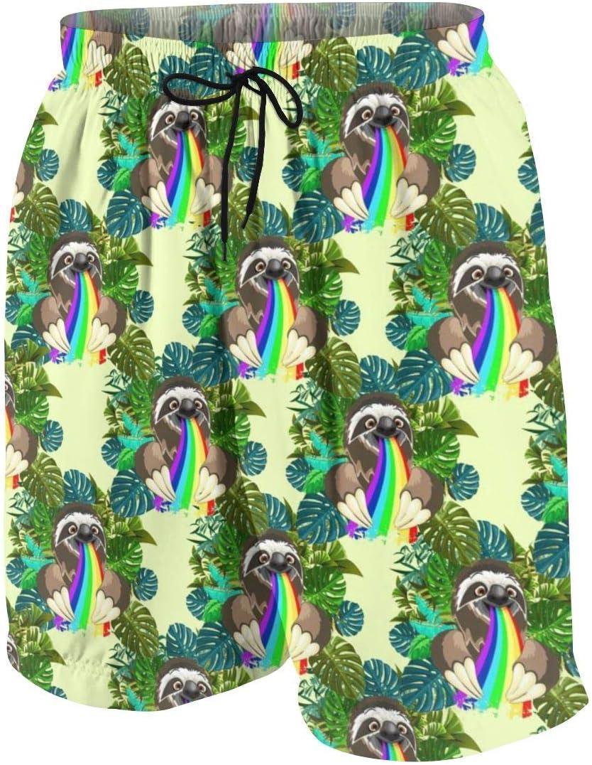 xqqr Boys Beach Board Shorts Sloth Spitting Rainbow On Rainforest Teens Bathing Suit Quick Dry Swimwear