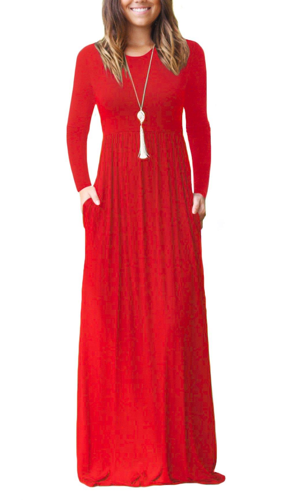 Red Dress - Women's Summer Casual Tshirt Dresses Short Sleeve Boho Beach Dress