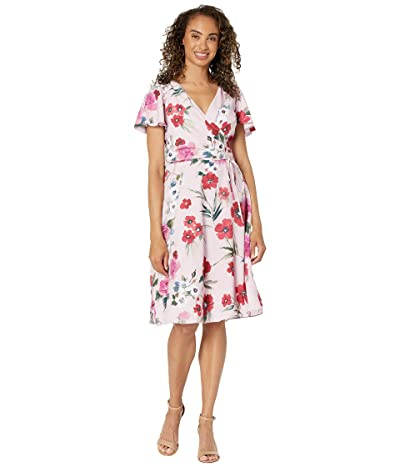 Adrianna Papell Floral Printed Faux Wrap Dress