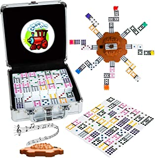 Tocebe Dominoes Set with Sound Effects, Mexican Train Dominoes for Travel, 91 Tiles Double12 Colored Dominoes Game Set wit...
