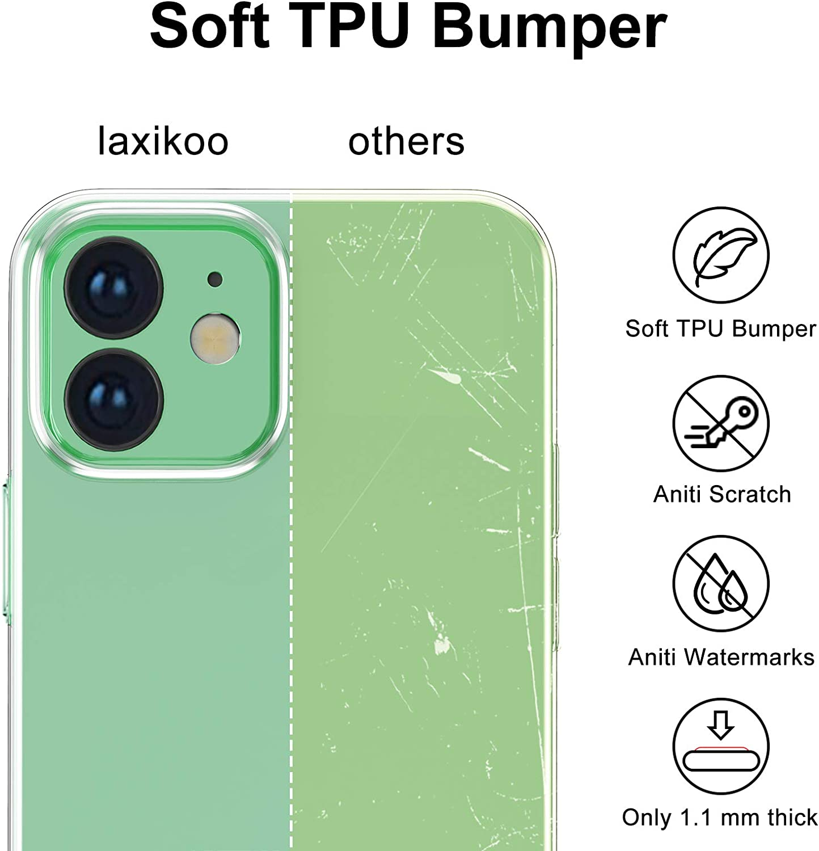 Crystal Clear laxikoo Coque Compatible avec iPhone 12 Mini 5,4 Pouces Coque Transparente Silicone Housse Fine TPU Souple Anti-Rayure Ultra Mince Silm Anti-Choc Etui de Protection Coque Case