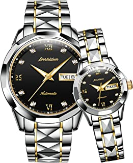 JSDUN Couple Automatic Watches for Men and Women,His and Hers Tungsten Steel Mechanical Tourbillon Dress Wristwatch Waterproof with Day Date Calendar Sapphire Big Face Large Dial Pyramid Bezel