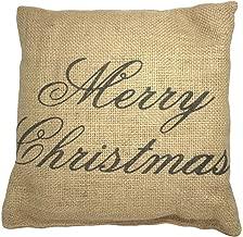 Small Burlap Merry Christmas Decorative Pillow, 8 x 8