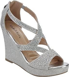 silver rhinestone platform sandals