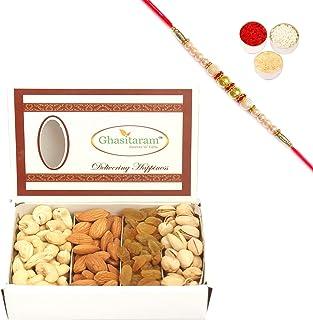 Ghasitaram Gifts Rakhi Gifts for Brothers Ghasitaram's Dryfruit Box(200gms) Pearl Rakhi