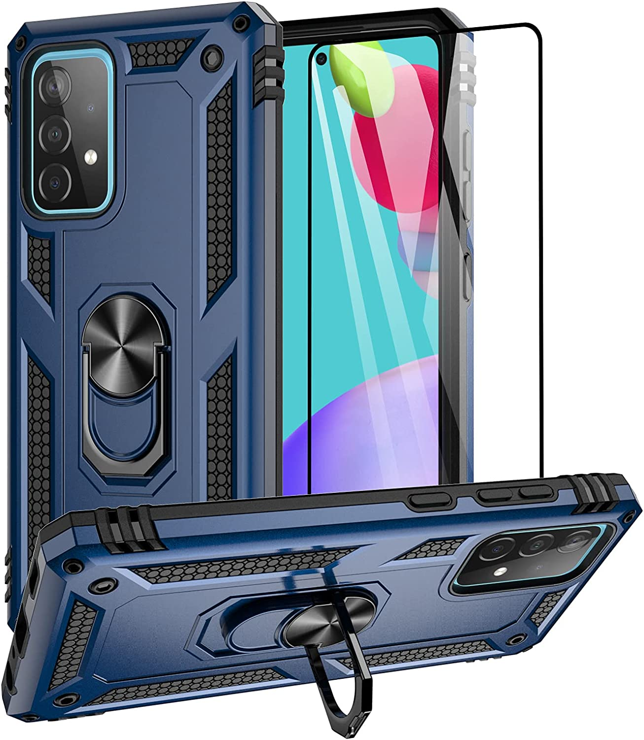 Aliruke Case Compatible for Samsung Galaxy A52 5G Case with Tempered Glass Screen Protector and Ring Holder Kickstand,Military Grade Cover Magnetic Finger Loop Stand Phone Cases for Galaxy A52, Blue