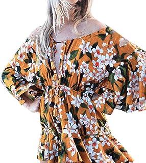 c5bc78bed1 4Clovers Women s Boho Off Shoulder Ruffles Floral Long Sleeve Loose  Irregular Hem Party Mini Dress Summer