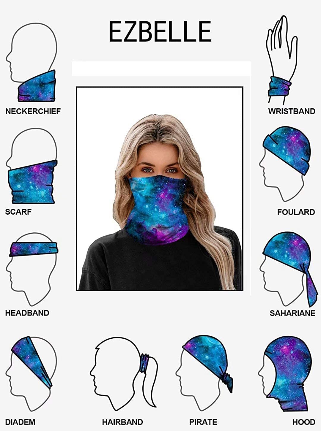 Ezbelle Washable Face Mask Headband Bandana Scarf Neck Warmer Headwear Balaclava for Men Women