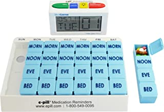 e-Pill   MedCenter Talk, Large Display, Up to 4 Alarms with 4 Compartment x 7 Day Pill Organizer, Large Capacity