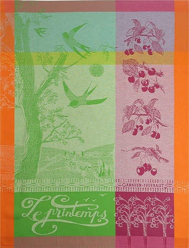 Garnier Thiebaut Printemps Springtime Limited French Jacquard Kitchen Towel 100 Percent Cotton 22 Inches X 30 Inches