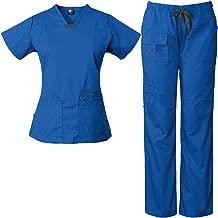 Medgear Womens Scrub Set Utility 4 Pocket top, 7 Pocket 2043 Pant with D-Ring