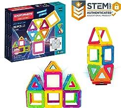 Magformers Neon (26 Piece) + Bonus Light Magnetic Building Blocks, Educational Magnetic Tiles Kit , Magnetic Construction ...