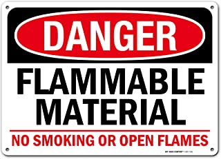"Danger Flammable Material No Smoking Fire Hazard Sign, 10"" x 14"" Industrial Grade Aluminum, Easy Mounting, Rust-Free/Fade ..."