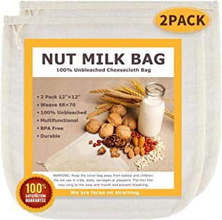 """Nut Milk Bags, All Natural Cheesecloth Bags, 12""""x12"""", 2 Pack, 100% Unbleached Cotton Cloth Bags for Cheese/Tea/Yogurt/Juice/Wine/Soup/Herbs, Durable Washable Reusable Almond Milk Strainer(Weave 66x70)"""