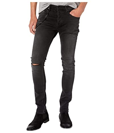 The Kooples Skinny Jeans with Leather Pocket Chain in Black Washed (Black Washed) Men