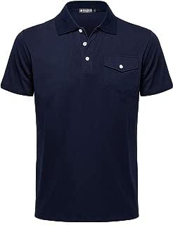 Musen Men Polo Shirts Cotton Causal Shirts with Pocket Golf Polo T-Shirts