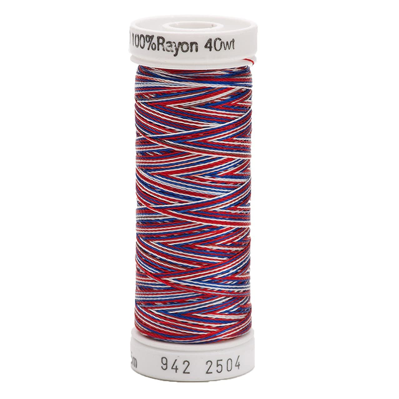 Sulky Of America 268d 40wt 2-Ply Variegated Rayon Thread, 250 yd, Red/White/Blue