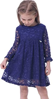 Girl's A-Line Long Sleeve Blue Lace Kid Dress