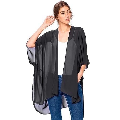 e98b9e81a71 Modern Kiwi Solid Sheer Chiffon Kimono Cardigan