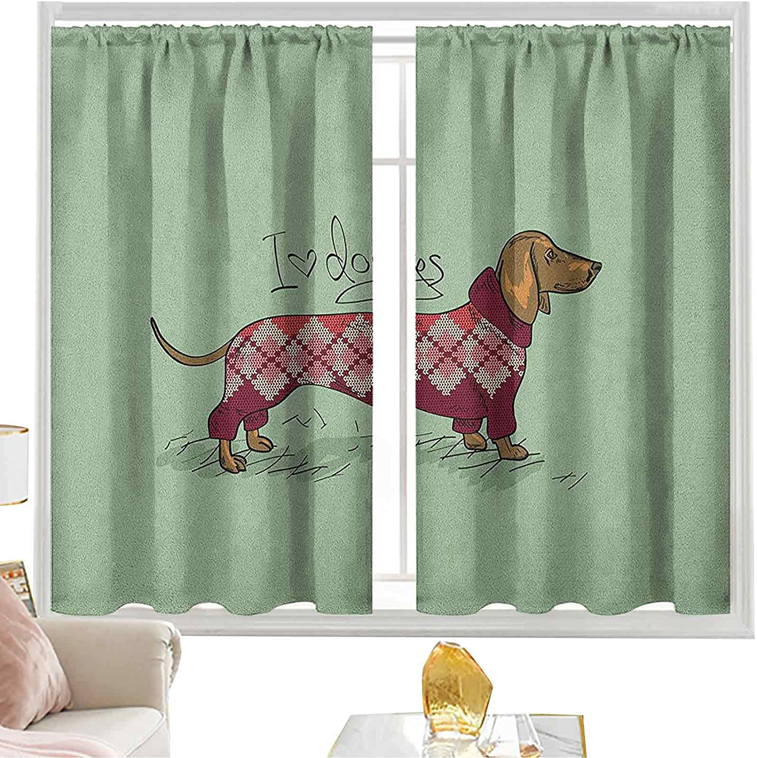 Rod Pocket Curtains Cute Bargain Dog Knitted in Sweater Detailed Design Recommended