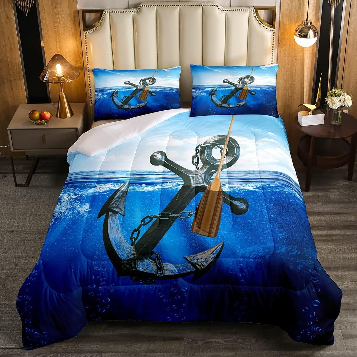 Feelyou Ocean Anchor Comforter Kids 35% OFF Nautical Theme Seattle Mall Marine Beddin
