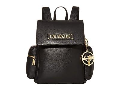 LOVE Moschino Love Logo Backpack (Black Natural Grain Calf) Backpack Bags