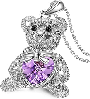 J.NINA ? •?•? Bucci Bear ? •?•? Mother's Day Necklace Gifts for Women Teddy Bear Pendant Necklace Gifts for Daughter Crystals from Swarovski Adored with Star-Shaped Hollow Cute Present for Her