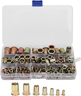 128 قطعة من صواميل البرشام المختلطة المطلية بالزنك الملون مجموعة صواميل برشام فولاذية مثبتة برشام لتجميع الكهروميكانيكية