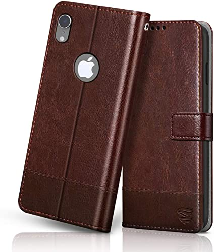 flipped vegan leather iphone xr flip case cover shock proof with tpu bumper card pockets magnetic closure wallet flip cover for apple iphone xr hand stitched tan with brown Brown