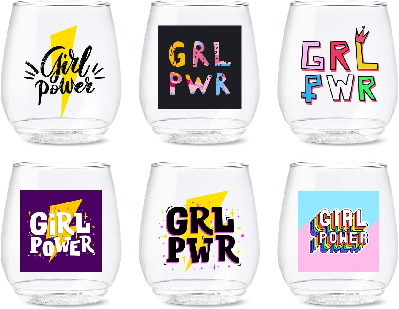 TOSSWARE 25% OFF POP 14oz Vino Large special price !! Girl Power Recyclable SET OF Series 6