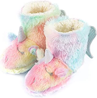 Carcassi Childrens Kids Girls Flamingo Patterned Slipper Boots House Shoes