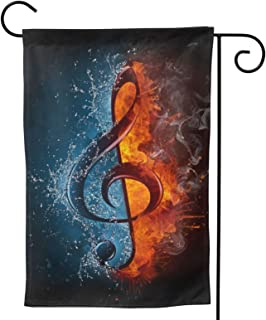 Music Note Garden Flag Water Fire Melody House Flag Vertical Double Sided Yard Outdoor Decor Party 12.5 X 18 Inch