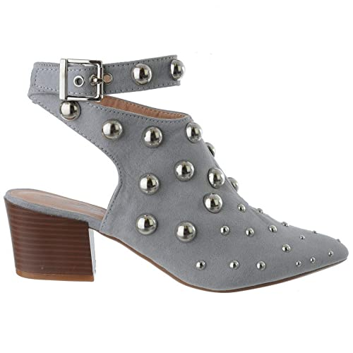 704829c7b43381 Miss Image UK Womens Ladies New Low Block Heel Studded Pointed Toe Ankle  Strap Buckle Party