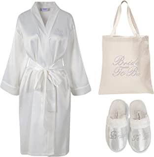 (Ivory) - Varsany Ivory Rhinestone Bride To Be Satin Bathrobe + Spa Slipper + Tote Bag wedding Personalised day hen party gift set
