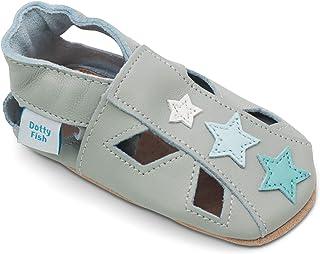 Dotty Fish Chaussures bébé en Cuir Souple. Sandales avec étoiles. Chaussons antiderapant Bebe. Garçons et Filles. 0-6 Mois...