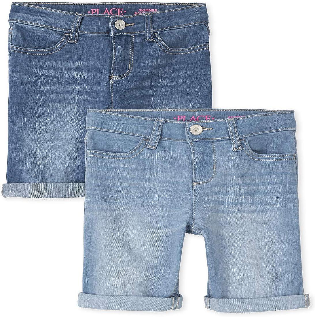 The half Children's Place Girls Roll Cuff 2-Pack Skimmer 2021 model Denim Shorts