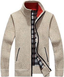 Lanceyy Cappotto Caldo Invernale Semplice Stile da Uomo Classico Cappotto da Collo in Cotone Felpa con Cappuccio Cardigan ...