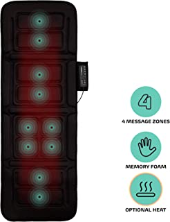 Belmint Vibrating Massage Mat for Full Body - Vibrating Massager Pad with Heat | 10 Vibration Motor Mattress Pad for Neck, Back, Legs Pain Relief (Black)
