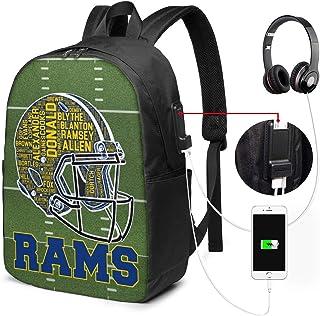 NFL Los Angeles Rams USB Backpack 17-Inch Laptop Backpack Adjustable Shoulder Strap Men's and Women's Business Travel College School Backpacks