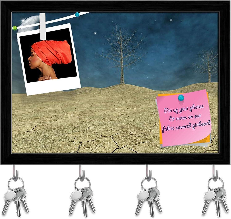 Artzfolio Fantasy Desert Key Holder Hooks   Notice Pin Board   Black Frame 14.2 X 10Inch
