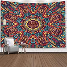 Shorping Wall Tapestry 80X60Inches Hanging Wall Tapestry for Décor Living Room Dorm Tribal Ethnic Festive Abstract Floral Pattern Geometric Zentangle Frame Border,Purple Green