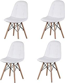 Conjunto Skycity de 4 sillas de Comedor Retro de Estilo de Mediados de Siglo, sillas Laterales sin Brazos para Cocina, Comedor, Dormitorio, Sala de Estar (Blanco)