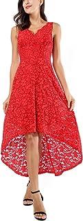 AVTOSRNO Women's Floral Lace V Neck Sleeveless Hi-Lo Dress Cocktail Formal Swing Dress