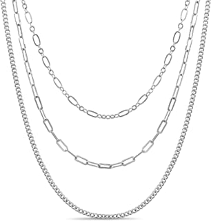 AUBREY LEE Three Row Oval Paper Clip Figaro Chain Layered Necklace for Women